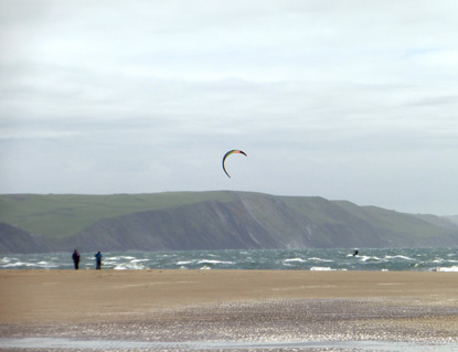 Kite surfing at Borth