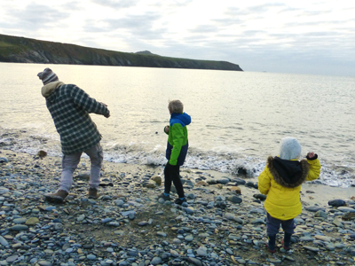 Skimming stones at Abereiddy