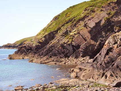 Rock formations at Caerbwdy Bay