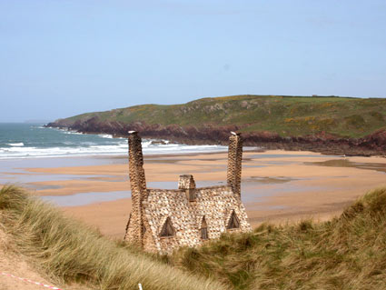 Shell House and beach at Freshwater West