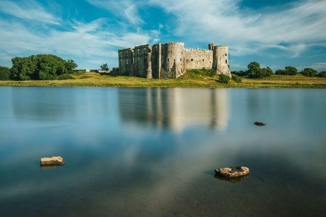 Carew Castle overlooking the lake, Pembrokeshire