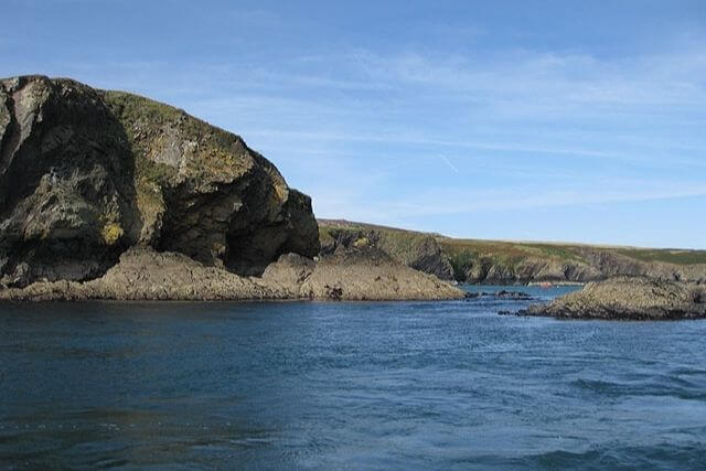 Cliffs off Ramsey Island in pembrokeshire