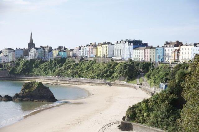 Colourful house along the beach in Tenby